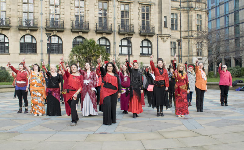 One Billion Rising Flash Mob Dance In Sheffield. stock image