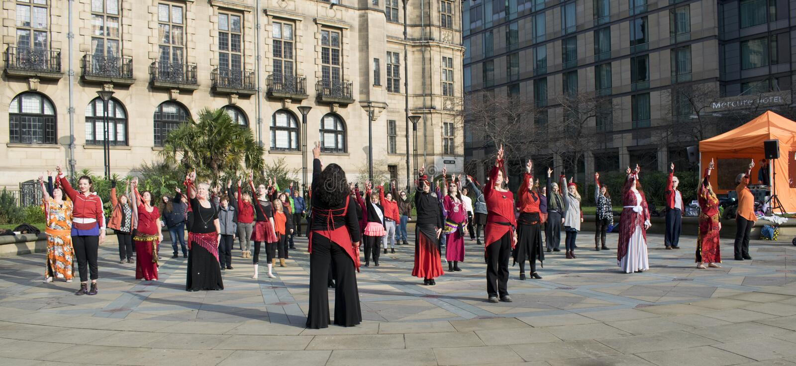 One Billion Rising Flash Mob Dance In Sheffield. stock photography