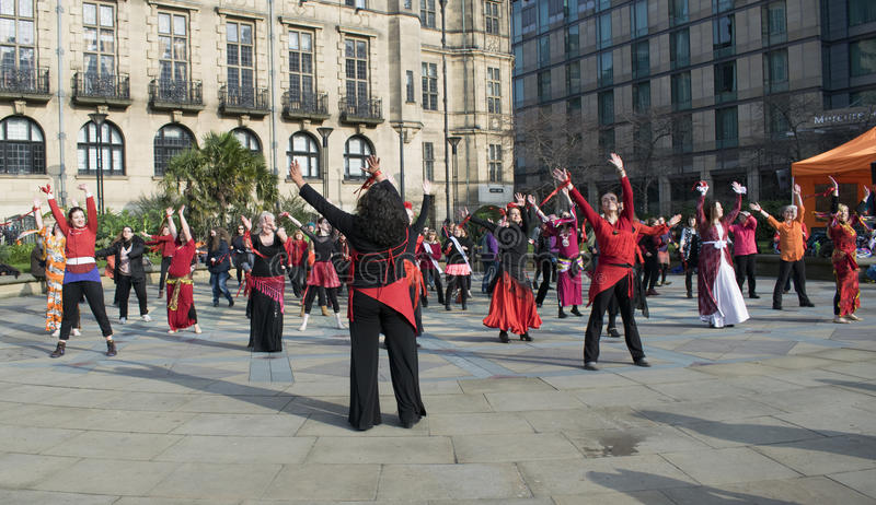 One Billion Rising Flash Mob Dance In Sheffield. royalty free stock photography