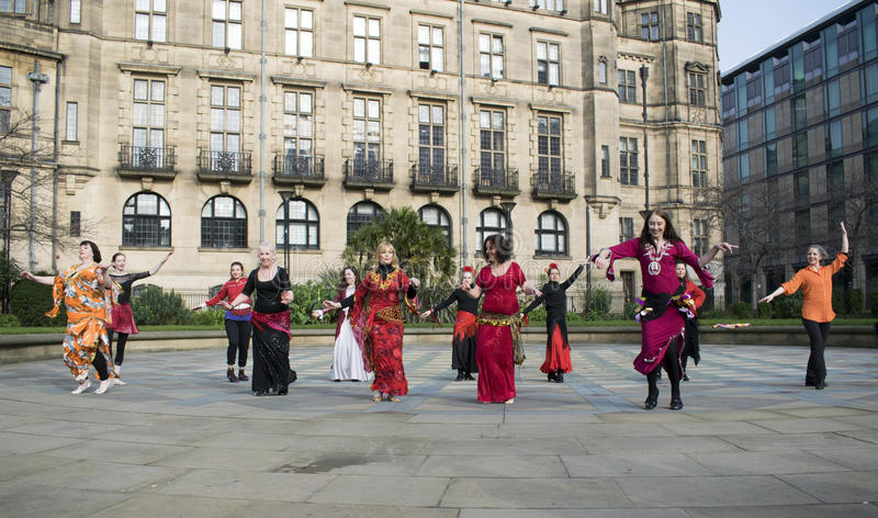 One Billion Rising Flash Mob Dance In Sheffield. royalty free stock photos