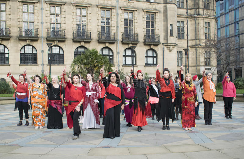 One Billion Rising Flash Mob Dance In Sheffield. royalty free stock photo