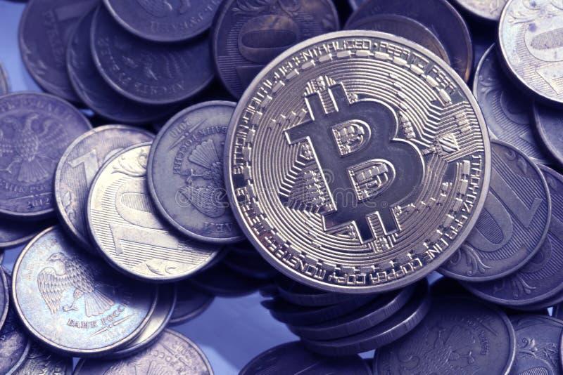 One Bitcoin On Russian Banknotes. Closeup, Macro Shot ...