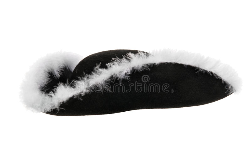 One black corsair cocked hat. From one side, on white background; isolated royalty free stock images