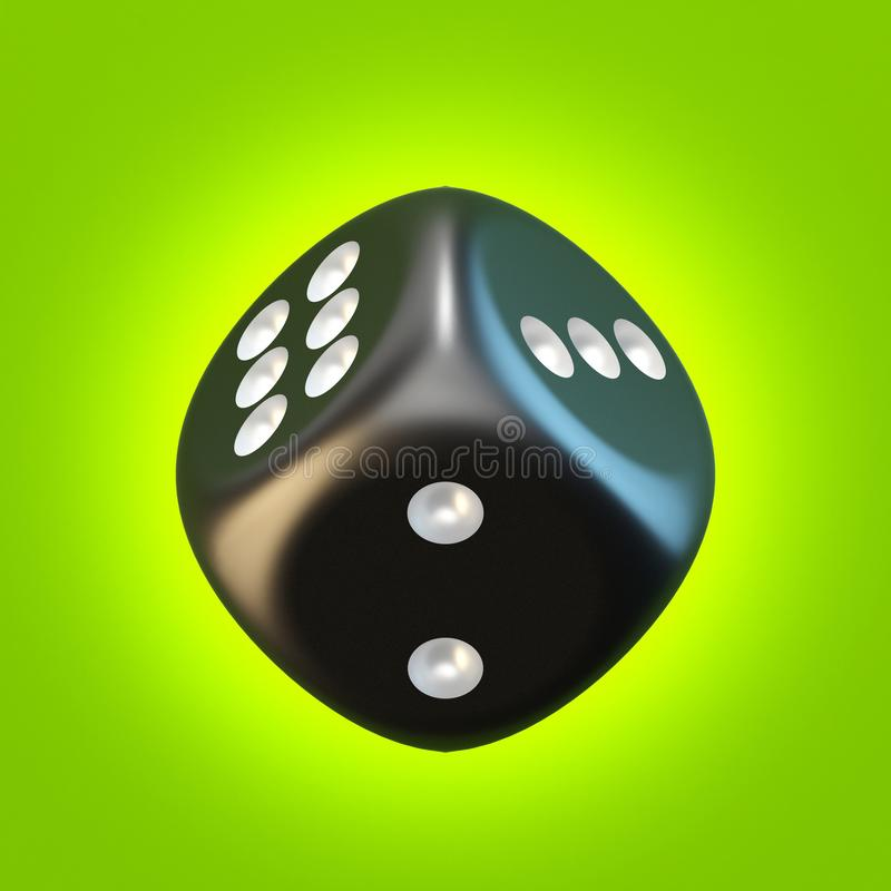 One black dice 3D. Rendering illustration on green background royalty free illustration