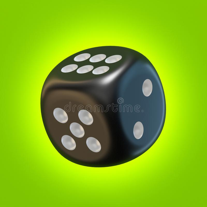 One black dice 3D. Rendering illustration on green background stock illustration