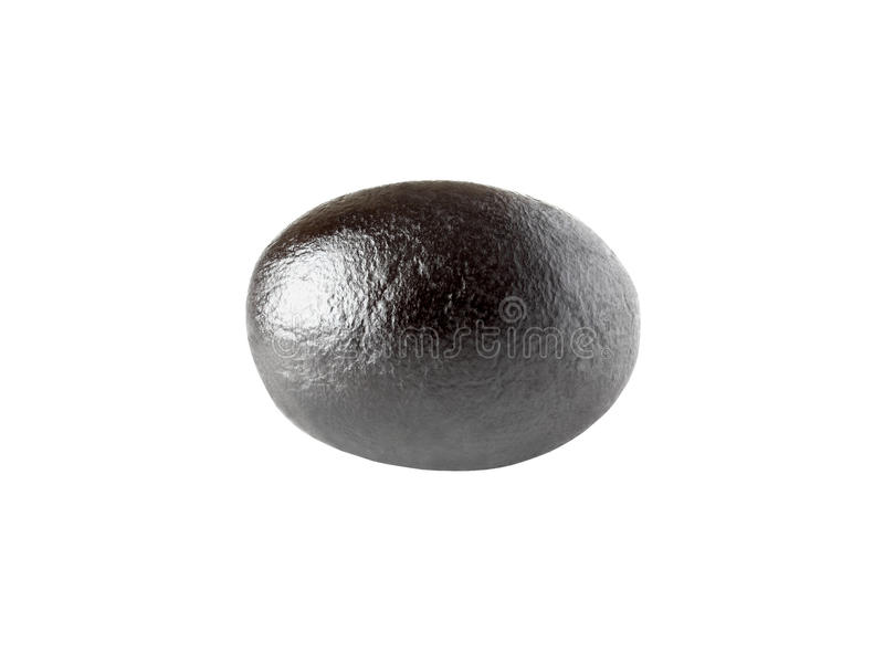 One black matt olive isolated on white with clipping path. One black matt olive isolated on white background with clipping path stock photos