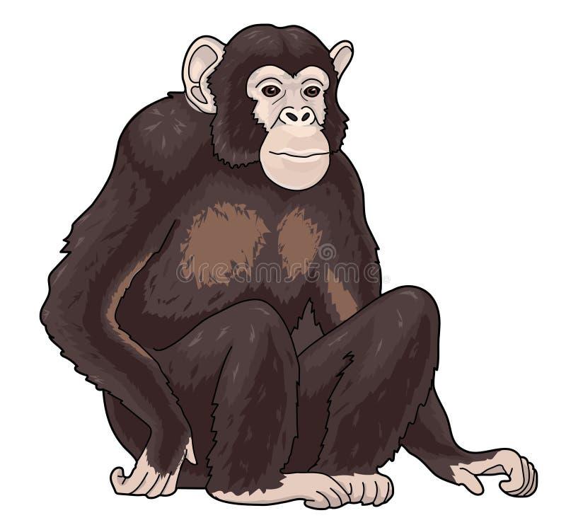 One black monkey chimpanzee stock illustration