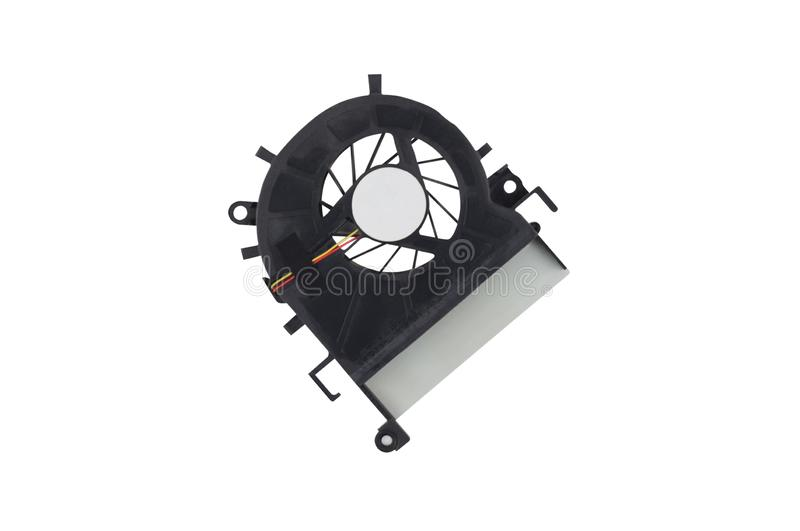One black plastic fan for desktop computer or notebook for cooling processor and other components isolated on white stock photography
