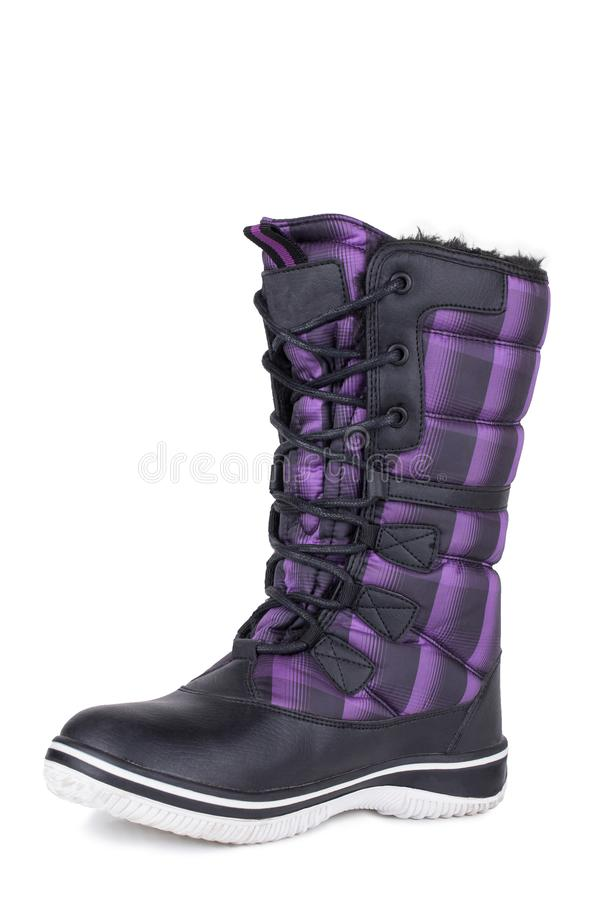 One black and purple glossy fabric woolen woman winter boots isolated. One black and purple urban street comfortable daily stylish glossy fabric woolen laced royalty free stock photography