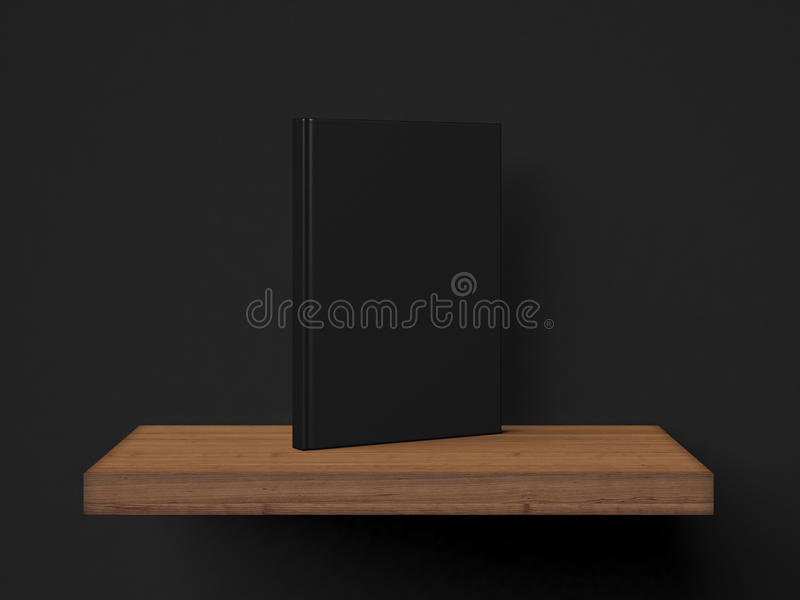 One blank book on a brown shelf. 3d rendering stock illustration