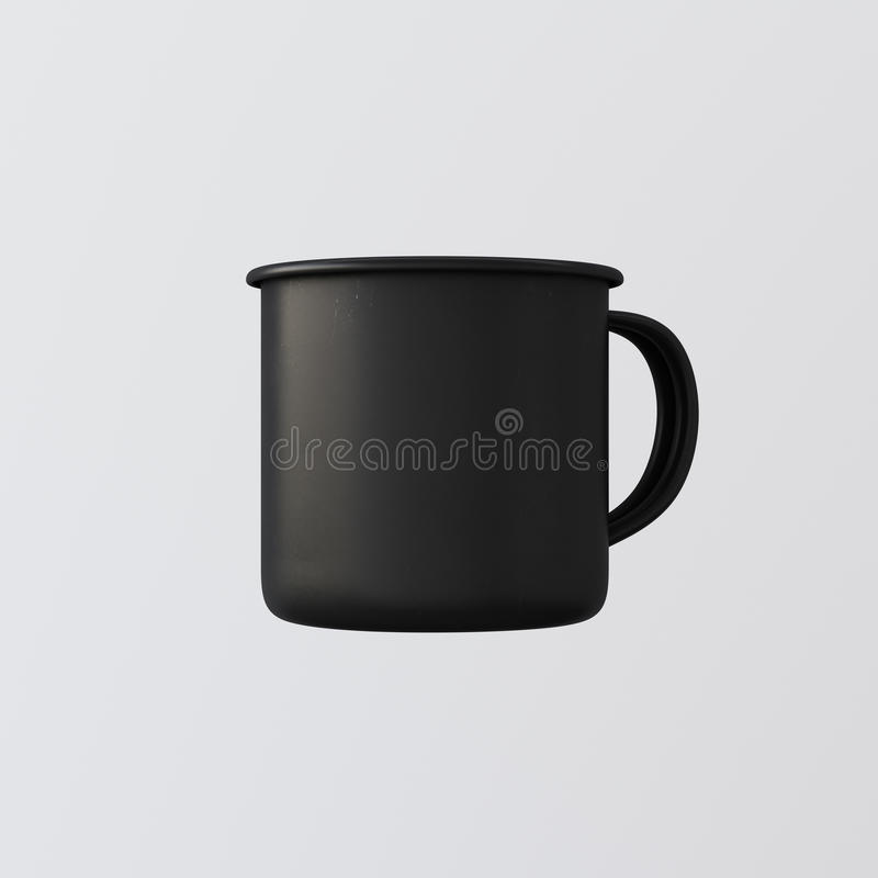 Free One Blank Matte Black Color Metal Coffee Mug Isolated Empty Background. Clean Enamel Cup Mockup Ready Corporate Design Royalty Free Stock Photography - 76810197
