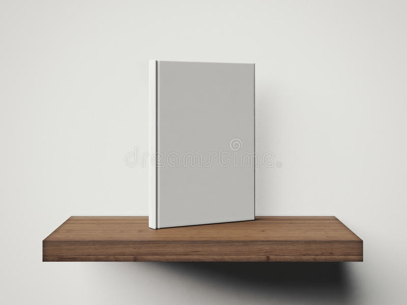 One blank white book on a brown shelf. 3d stock illustration