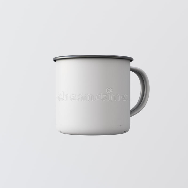 One Blank White Color Metal Coffee Mug Isolated Empty Background. Clean Enamel Cup Mockup Ready Corporate Design Message vector illustration