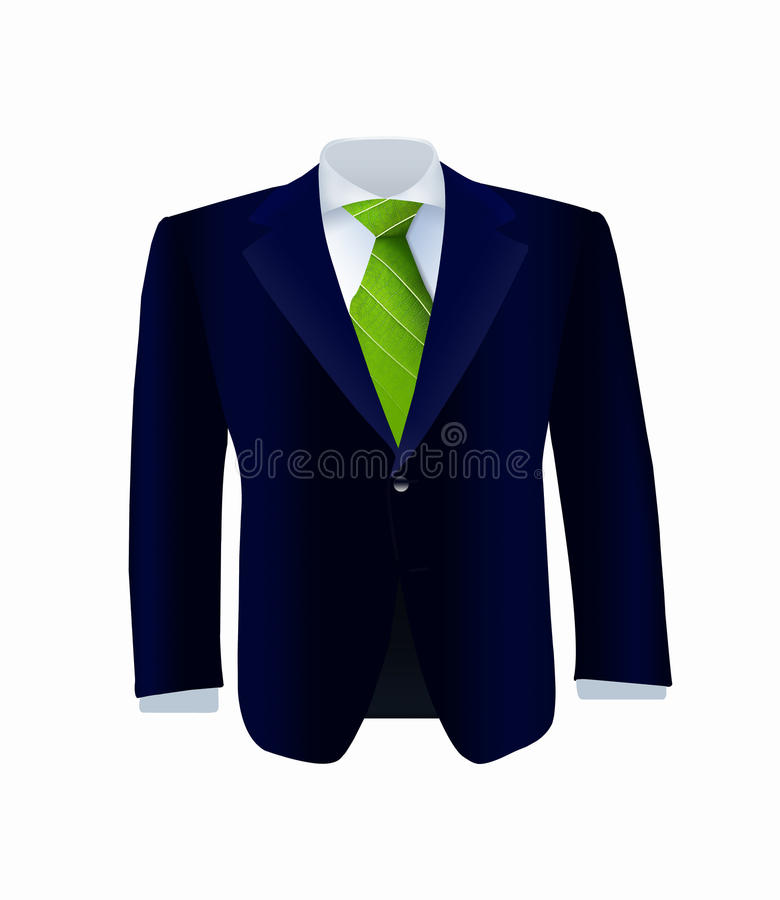 Download Isolated Blue Costume With Green Tie Stock Photo - Image: 30272308