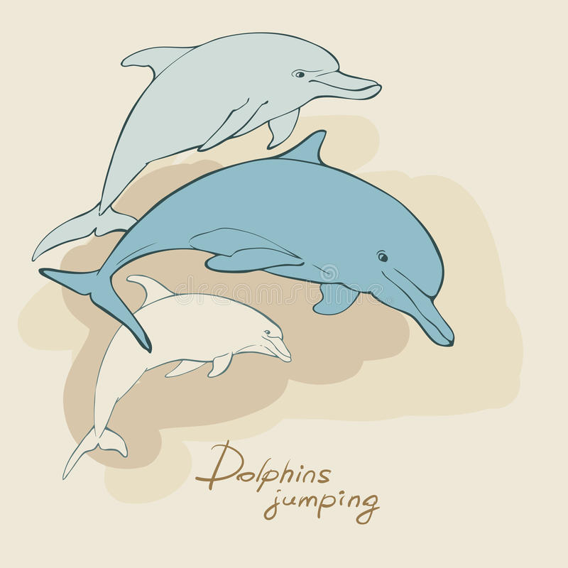 three dolphins vector illustration