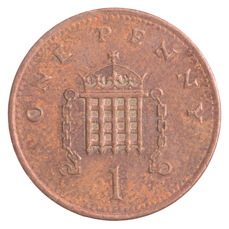 One british penny coin stock images
