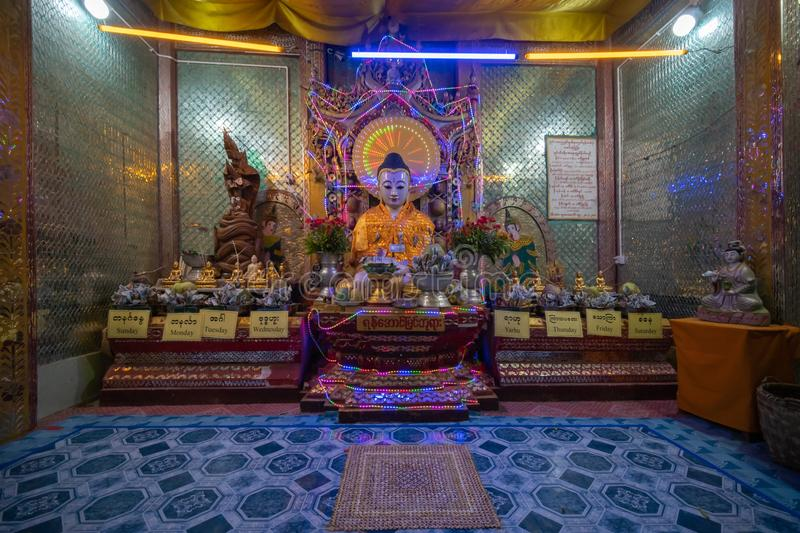 One of Buddha house at top of mount POPA in Mandalay Myanmar. Mandalay, Myanmar, May , 2019 - one of Buddha house at top of mount POPA, home of 37 of the most stock image