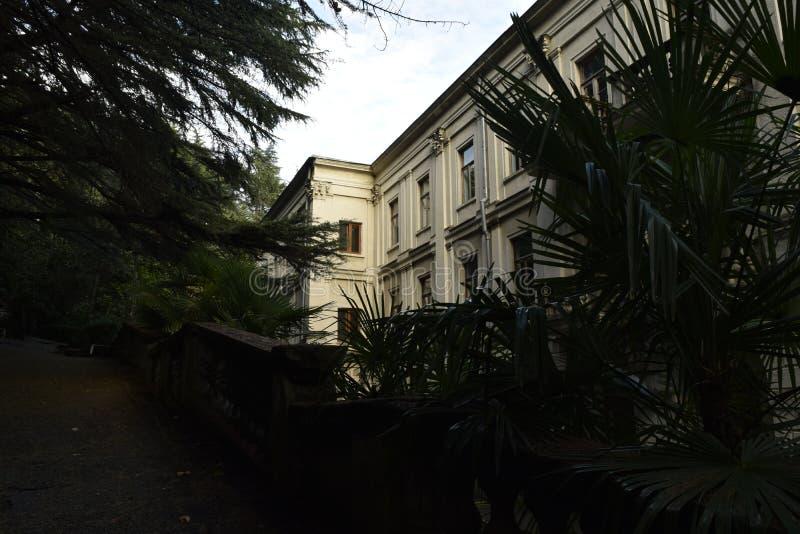 One of the buildings of the famous Stalin-era sanatorium stock photos