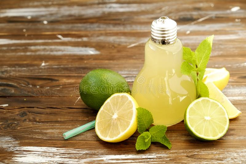 Summer healthy non alcoholic cocktails, citrus infused water drinks, lemonades with lime lemon or orange, diet detox beverages. royalty free stock photography