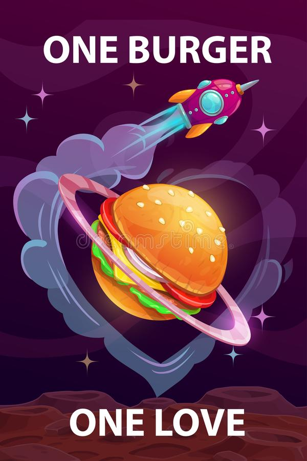 One burger, one love. Funny cartoon motivation food poster with giant burger planet. vector illustration