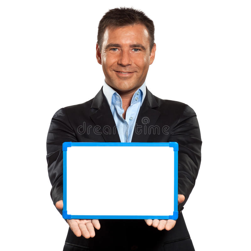 One business man holding showing whiteboard royalty free stock images