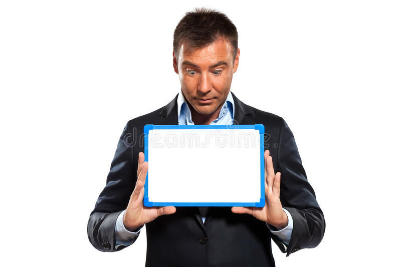 One Business Man Holding Showing Whiteboard Stock Photography