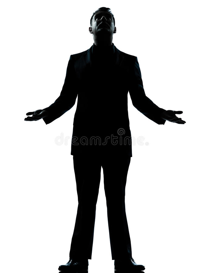 One business man hopeful looking up silhouette stock photography