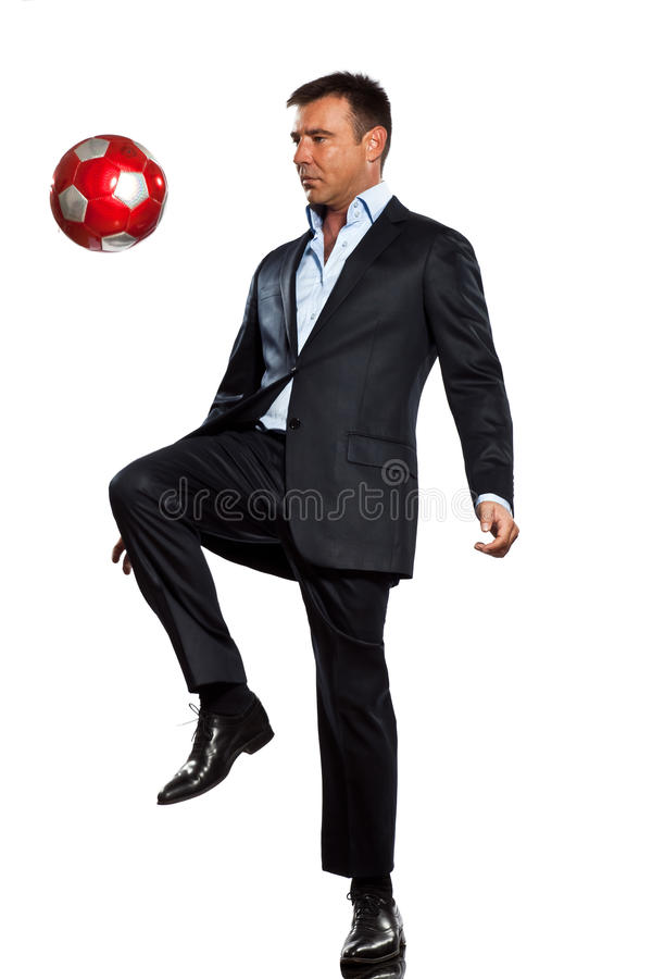 Download One Business Man Playing Juggling Soccer Ball Stock Photo - Image: 23093698