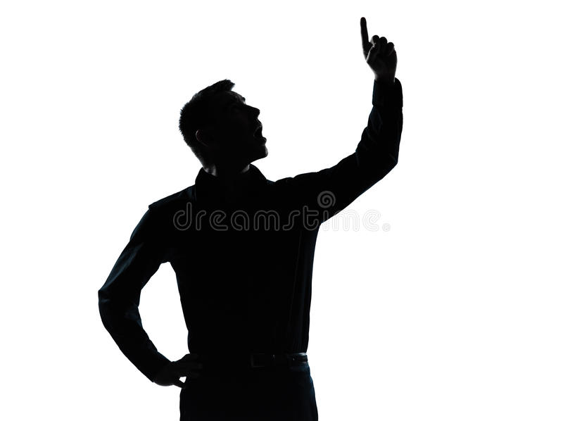 One business man pointing up surprised silhouette