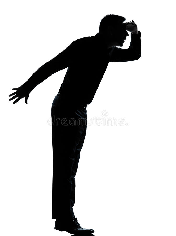 Free One Business Man Silhouette Tiptoe Looking Away Royalty Free Stock Photo - 22650625