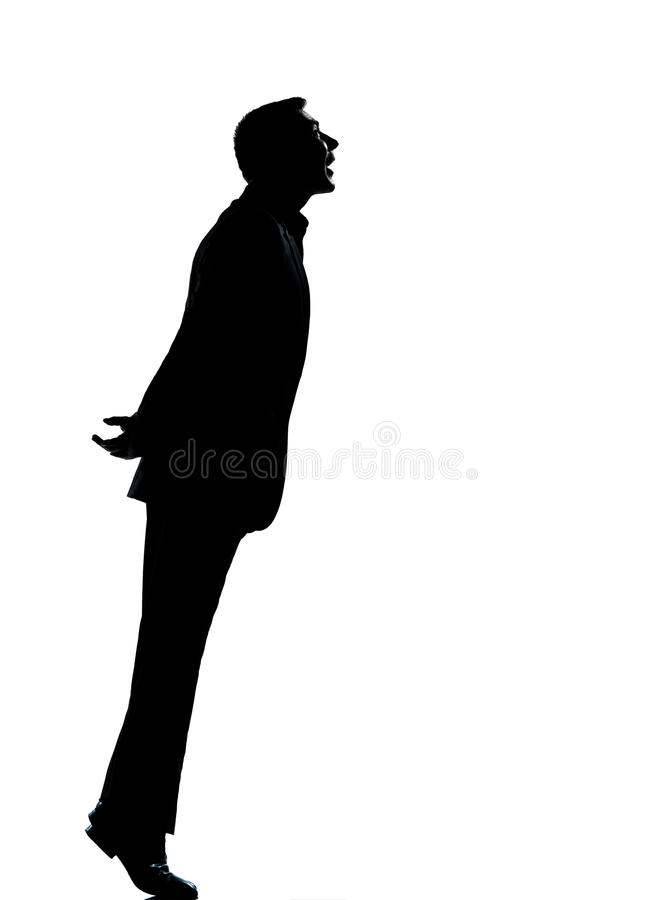 One business man silhouette tiptoe looking up stock images