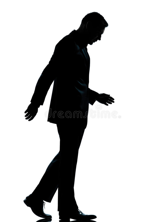 One Business Man Walking Looking Down Silhouette Stock ...