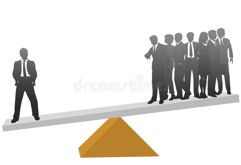 One business man worth his weight in many workers royalty free illustration