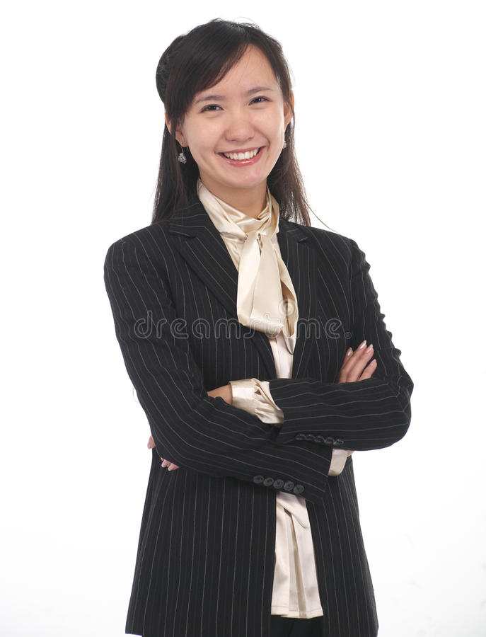 one business woman smiling stock image