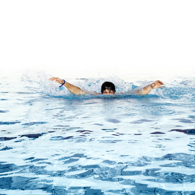 One can not swim. Man swims in swimming pool royalty free stock photo