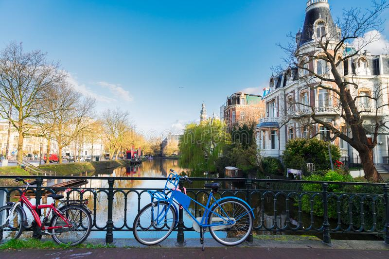 One of canals in Amsterdam. Romantic scenery with one of the canals in Amsterdam old town, Netherlands royalty free stock images
