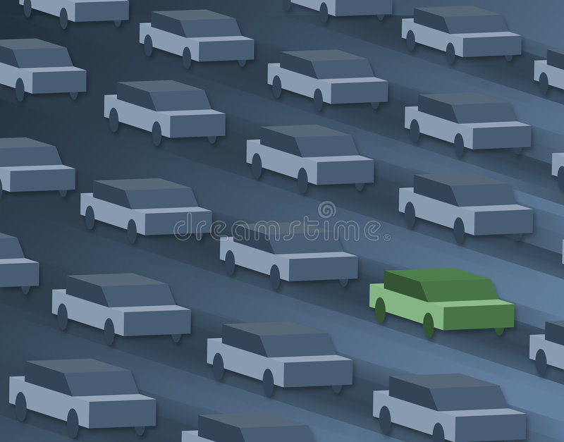 One car, going green. stock photo