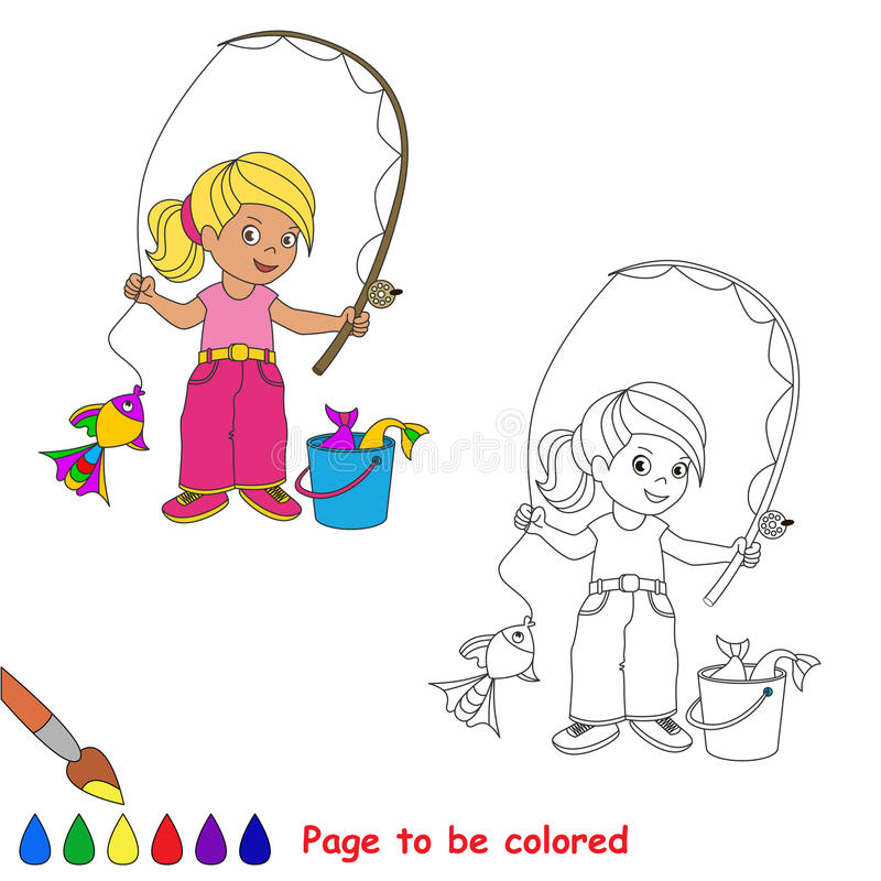 One cartoon baby fisher girl catch fish. Coloring book for children. Page to be color for kid playing. Summer hobby royalty free illustration