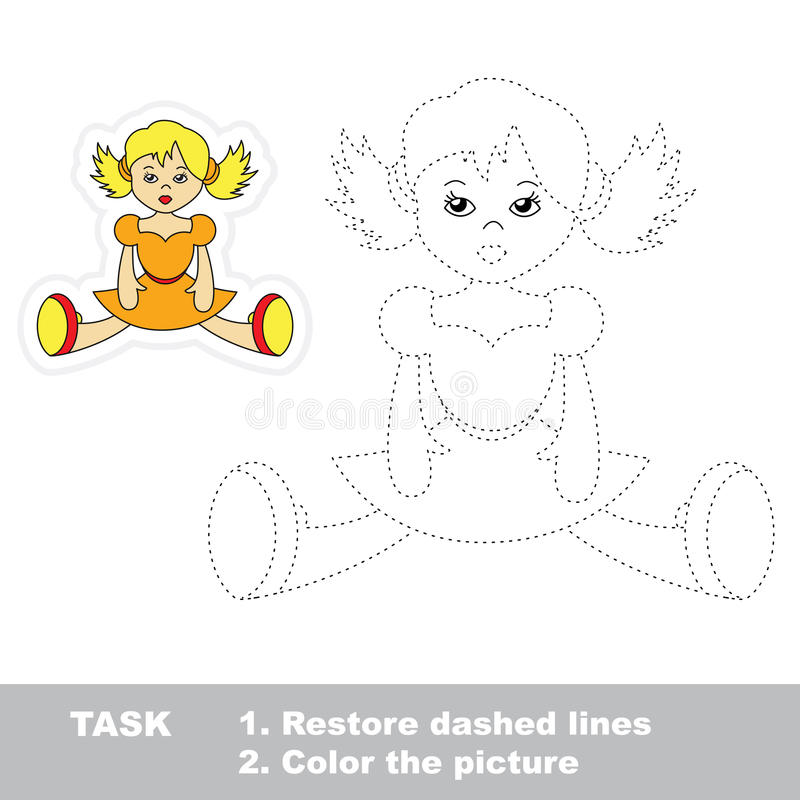 One cartoon doll to be traced. Restore dashed line royalty free illustration