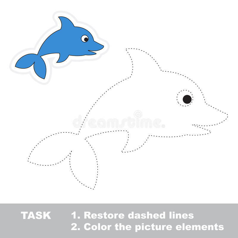 One cartoon dolphin. Restore dashed line and color. Picture. Trace game for children royalty free illustration