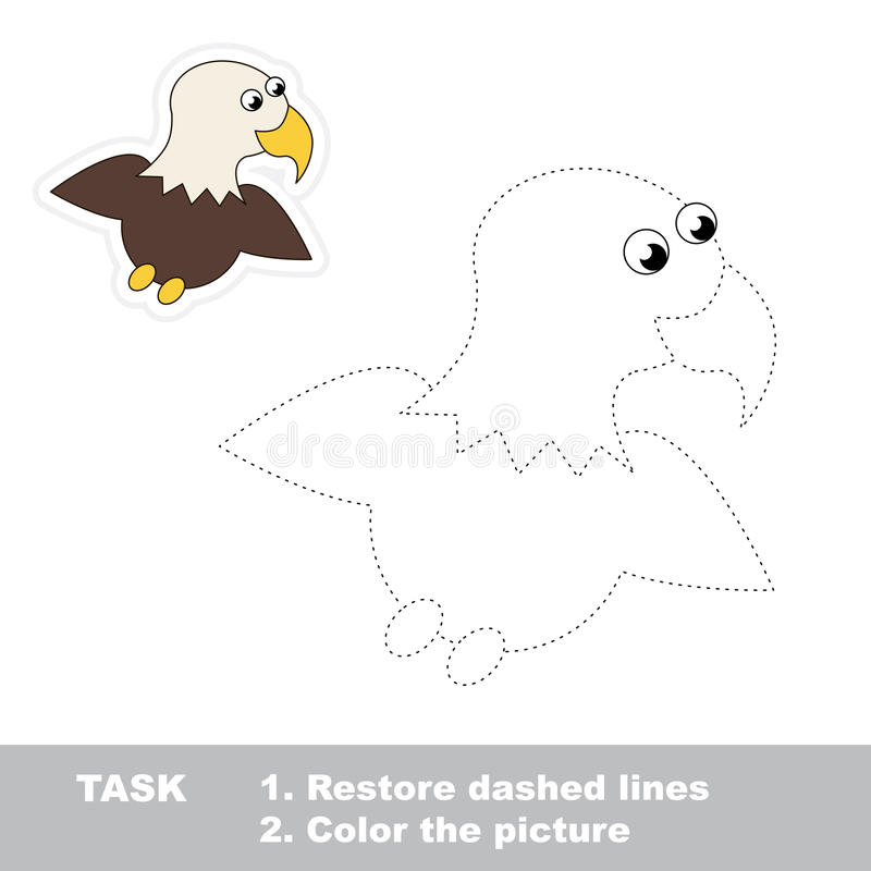 One cartoon eagle to be traced stock illustration
