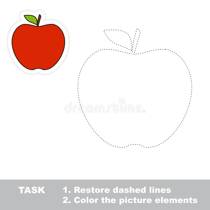 One cartoon red apple. Restore dashed line and color picture. Trace game for children royalty free illustration