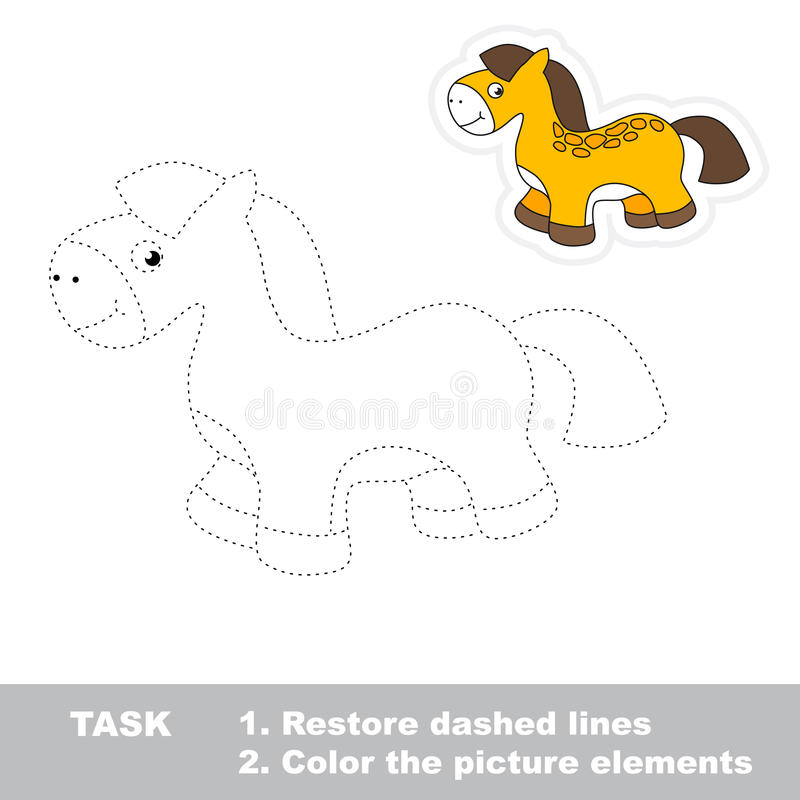 One cartoon toy horse. Restore dashed line and color picture. Trace game for children vector illustration