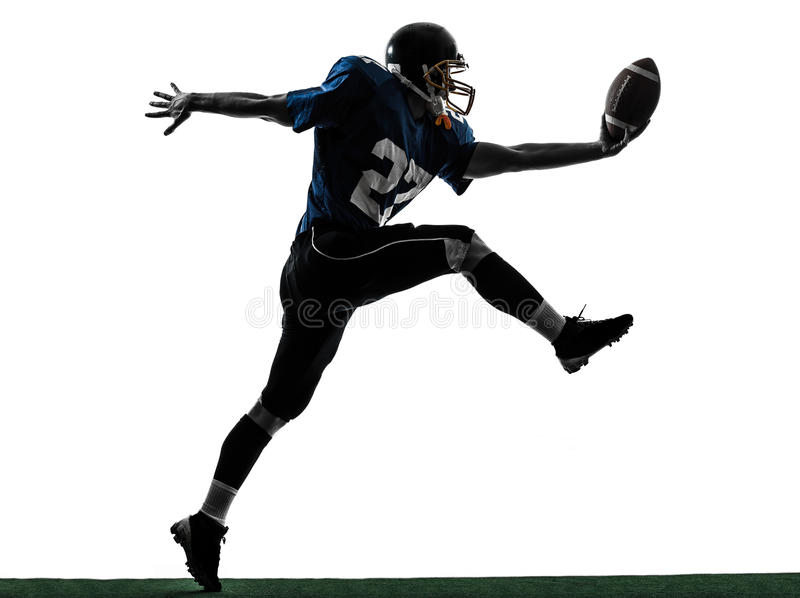 American football player man scoring touchdown silhouette stock photos