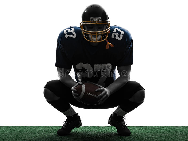 American Football Player Man Crouching Silhouette Stock Image