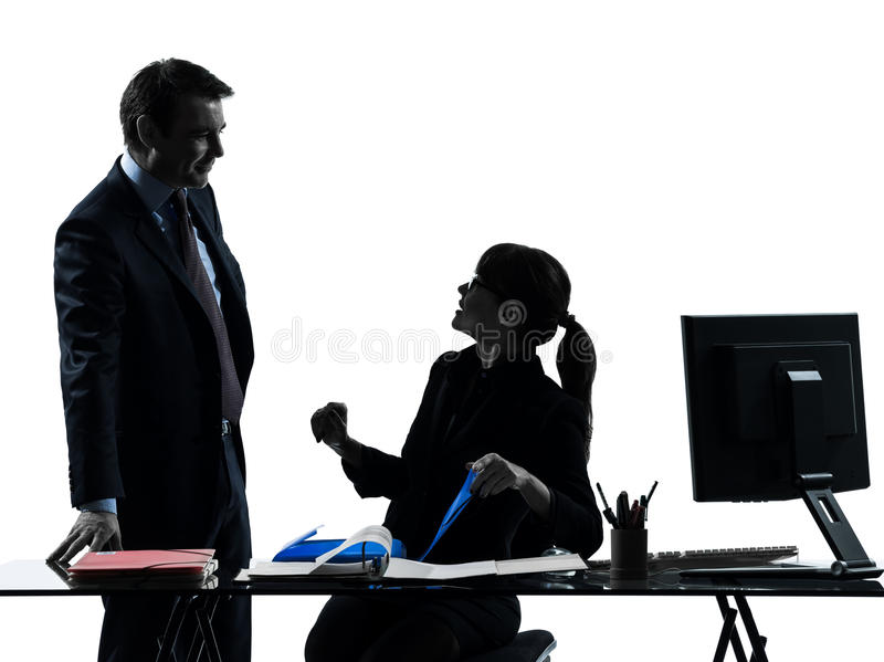 Busy smiling business woman man couple silhouette stock photography
