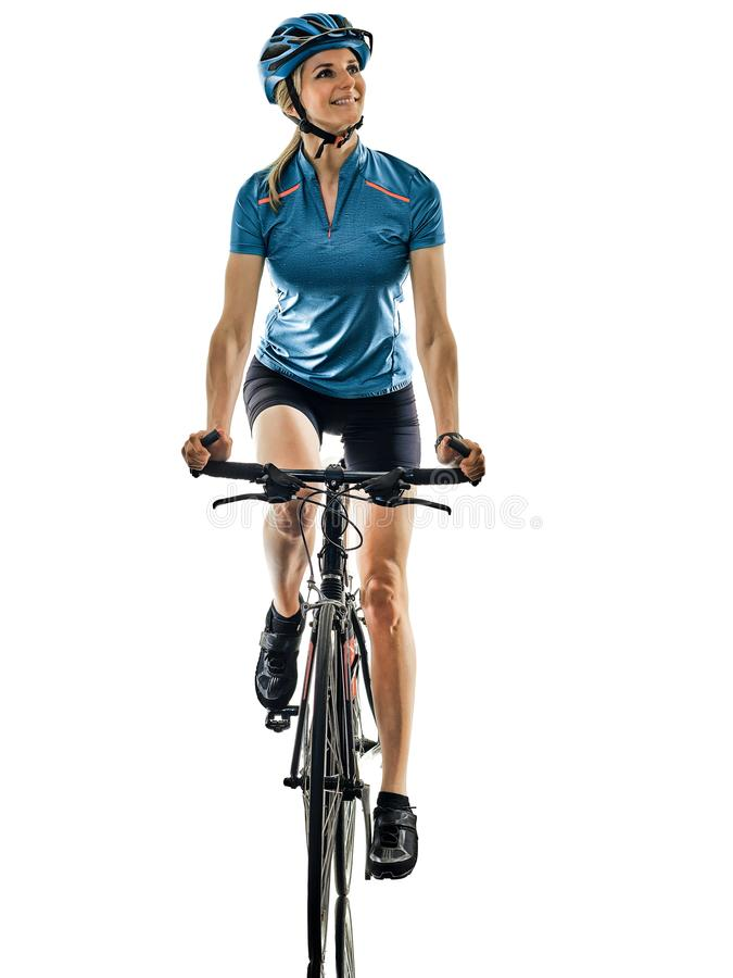 Cyclist cycling riding bicycle woman isolated white background smile happy royalty free stock photography