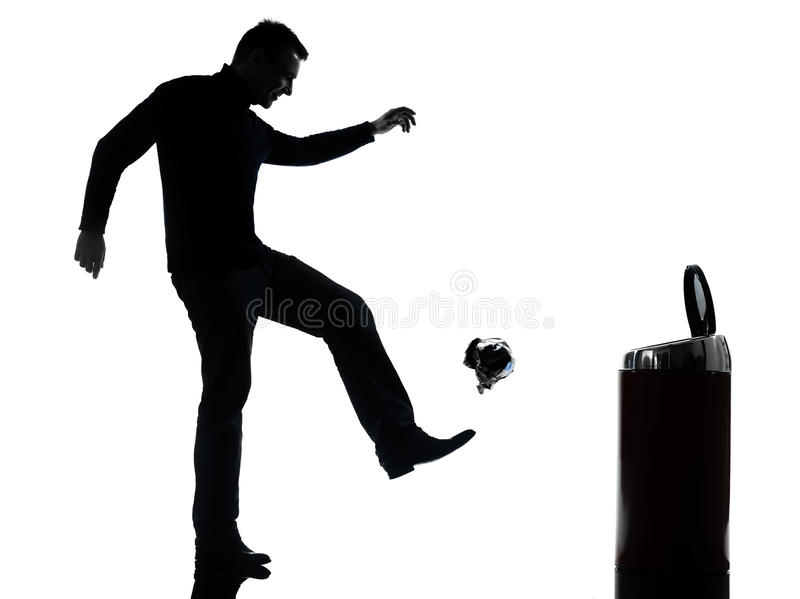 Download Man Dropping A Paper In A Trash Bin Silhouette Full Length Stock Photo - Image: 29859924