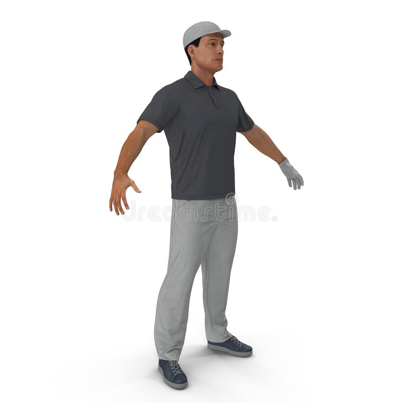 One caucasian man golfer isolated on white. 3D illustration vector illustration
