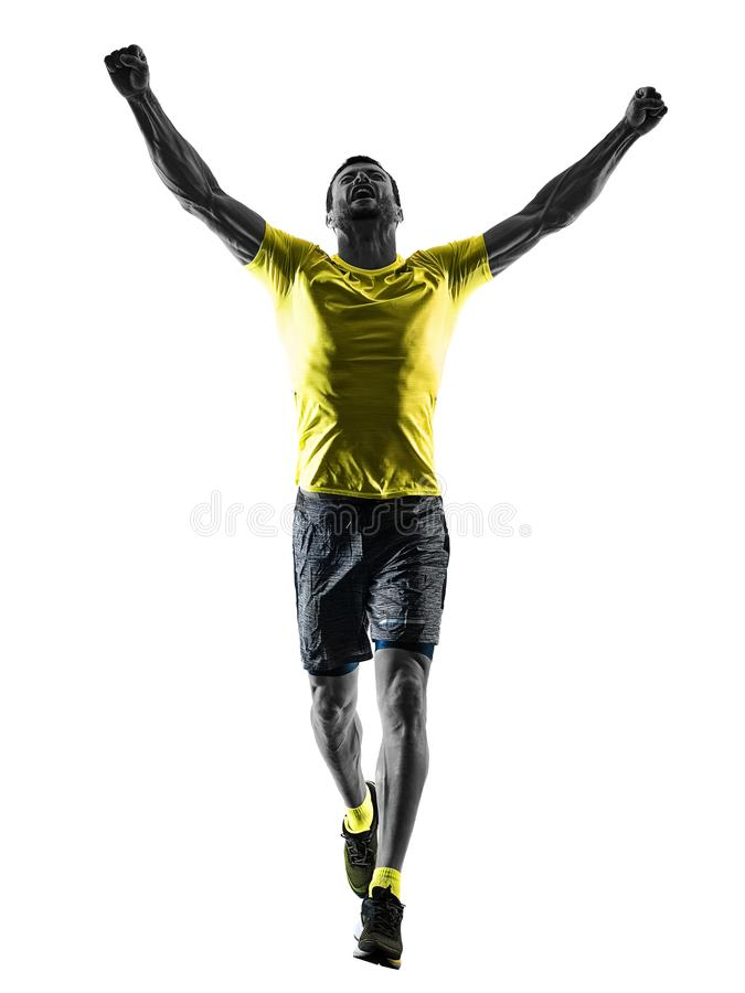 Man runner running jogger jogging happy isolated silhouette whit. One caucasian man runner running jogging jogger happy silhouette isolated on white background royalty free stock photos